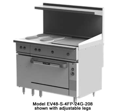 "Vulcan-Hart EV48-S-4FP24G480 48"" 4-Sealed Element Electric Range with Griddle, 480v/3ph"