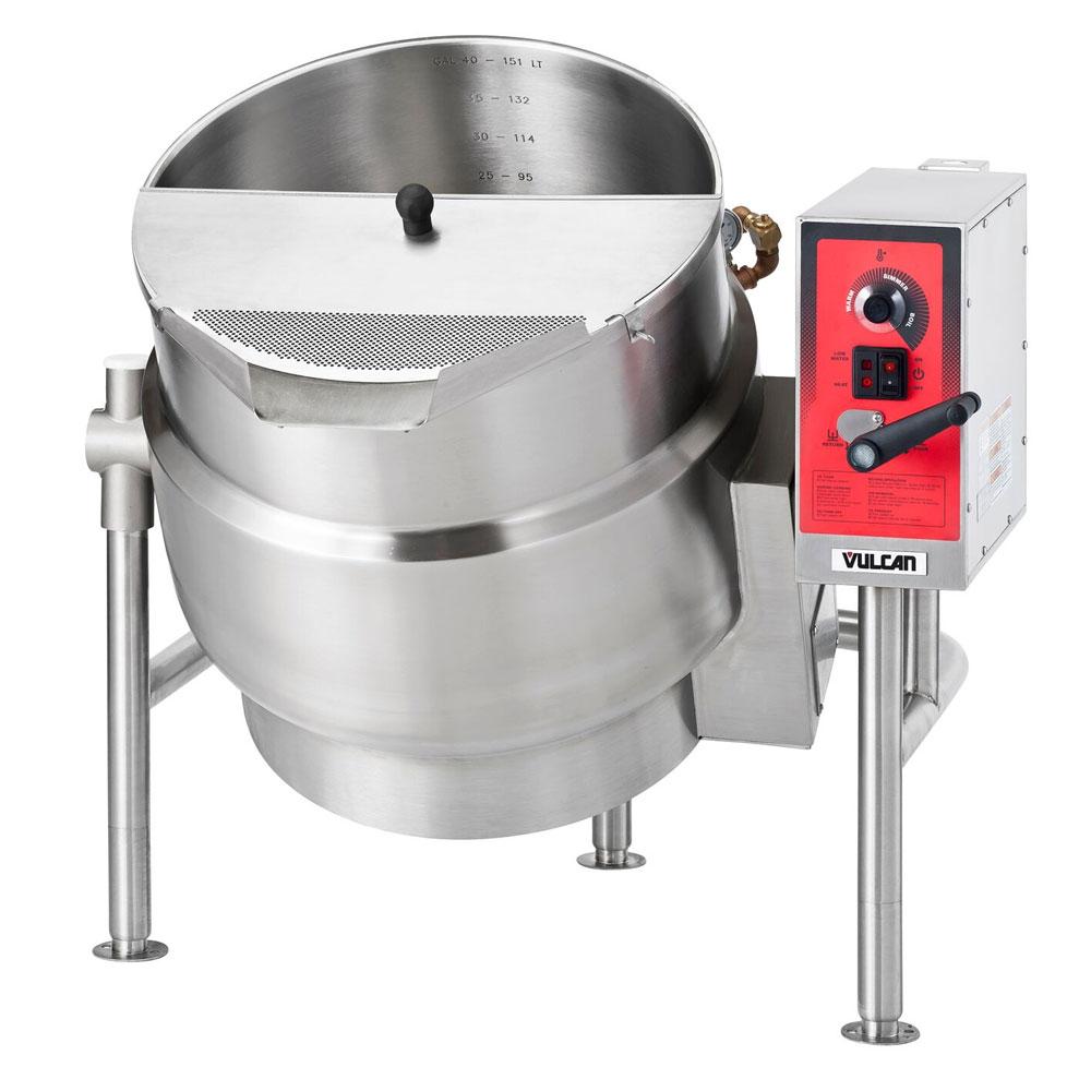 Vulcan-Hart K40ELT 40-Gallon Tilting Kettle w/ Manual Tilt, Faucet Bracket, 208/3 V