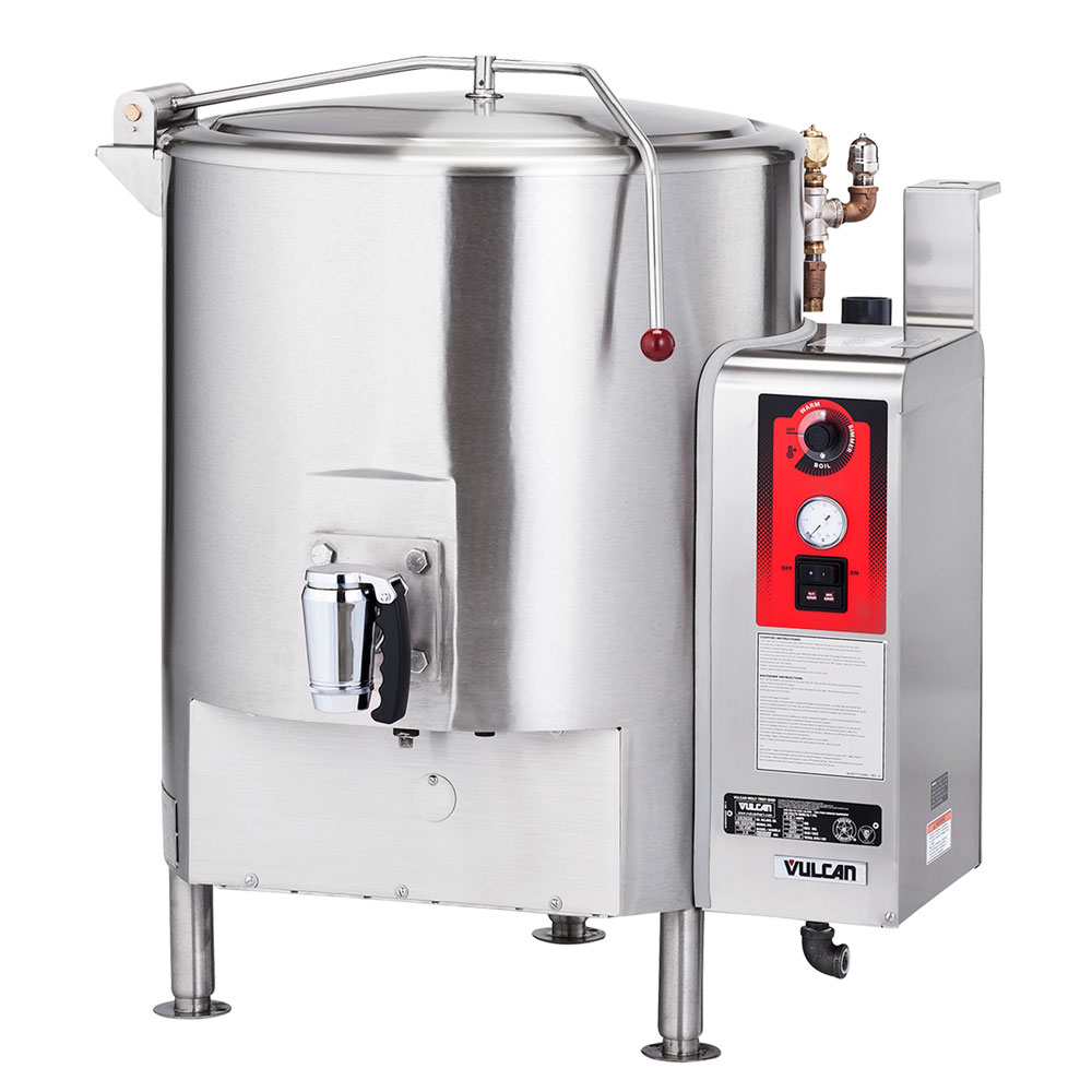 Vulcan-Hart ST150 Stationary Kettle, Fully Jacketed w/ 150-Gallon Capacity, Spring Cover