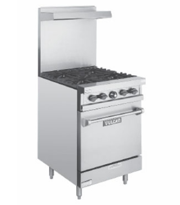 Vulcan-Hart V24 NG 24 in Value Series Restaurant Range 4 Burners Space Saver Oven NG Restaurant Supply