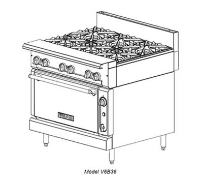 "Vulcan-Hart V6B36C 36"" 6-Burner Gas Range, LP"