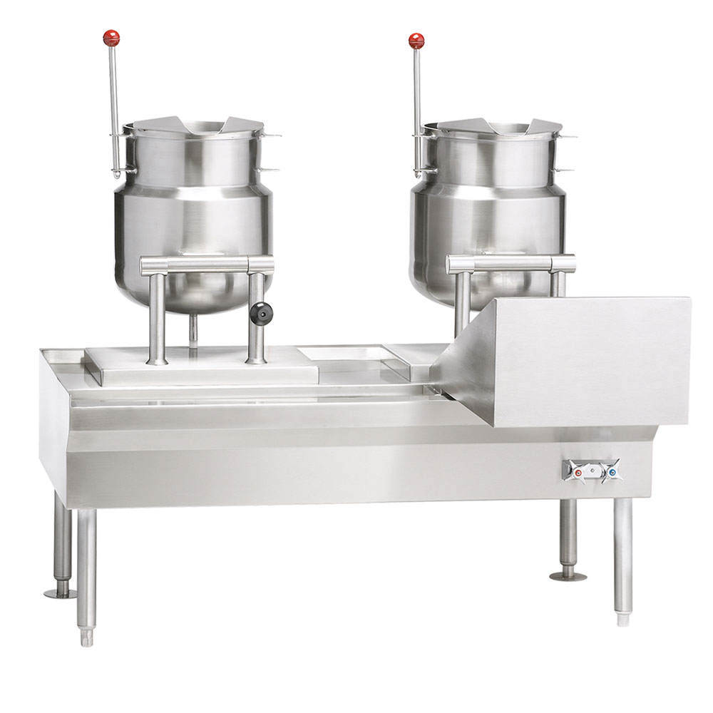 """Vulcan-Hart VEKT50/66 50"""" Kettle Stand Assembly, (2) K6ETT Titling Kettle, 240/50/60/1 V"""