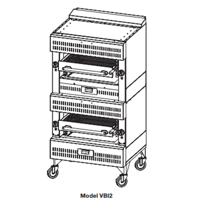 "Vulcan-Hart VIR2NG Deck Broiler - Double Deck Burners, (2)25.5x24.5"" Cooking Grids, Stainless Steel, LP"