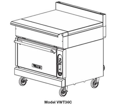 "Vulcan-Hart VWT36C NG 36"" Heavy Duty Range, Work Top, Convection Oven, NG"
