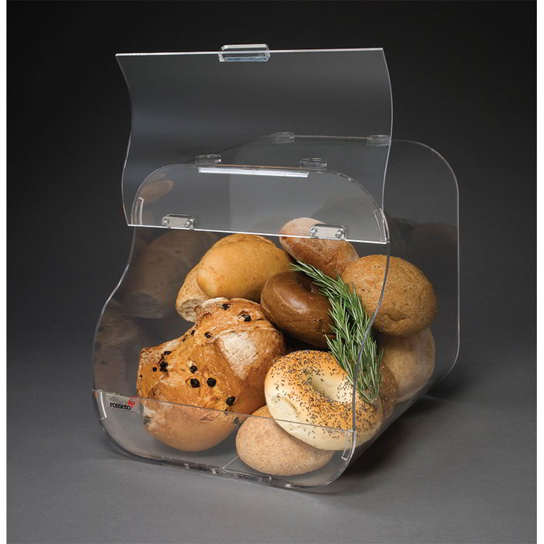 "Rosseto BAK1203 Countertop Bakery Display Bin - Stackable, 11x11x12"" Acrylic, Clear"