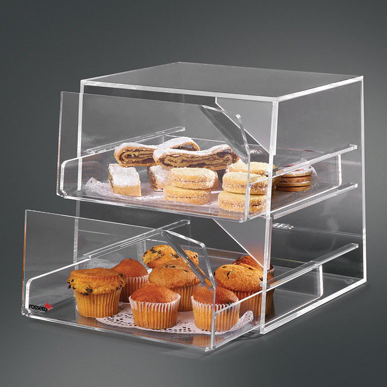 "Rosseto BAK2231 2-Drawer Countertop Bakery Display Case - 10x11x12"" Acrylic, Clear"