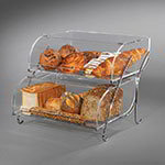 "Rosseto BAK2937 2-Tier Countertop Bakery Display Case - Wire Stand, 13-1/2x16x18"" Acrylic, Clear"