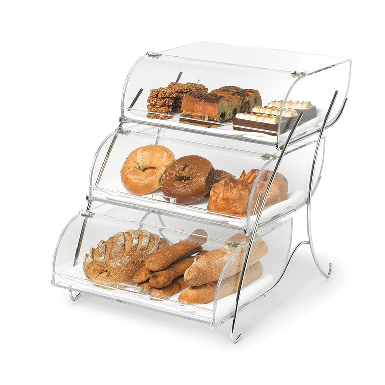 "Rosseto BAK2944 3-Tier Countertop Bakery Display Case - Wire Stand, 19x15x22"" Acrylic, Clear"
