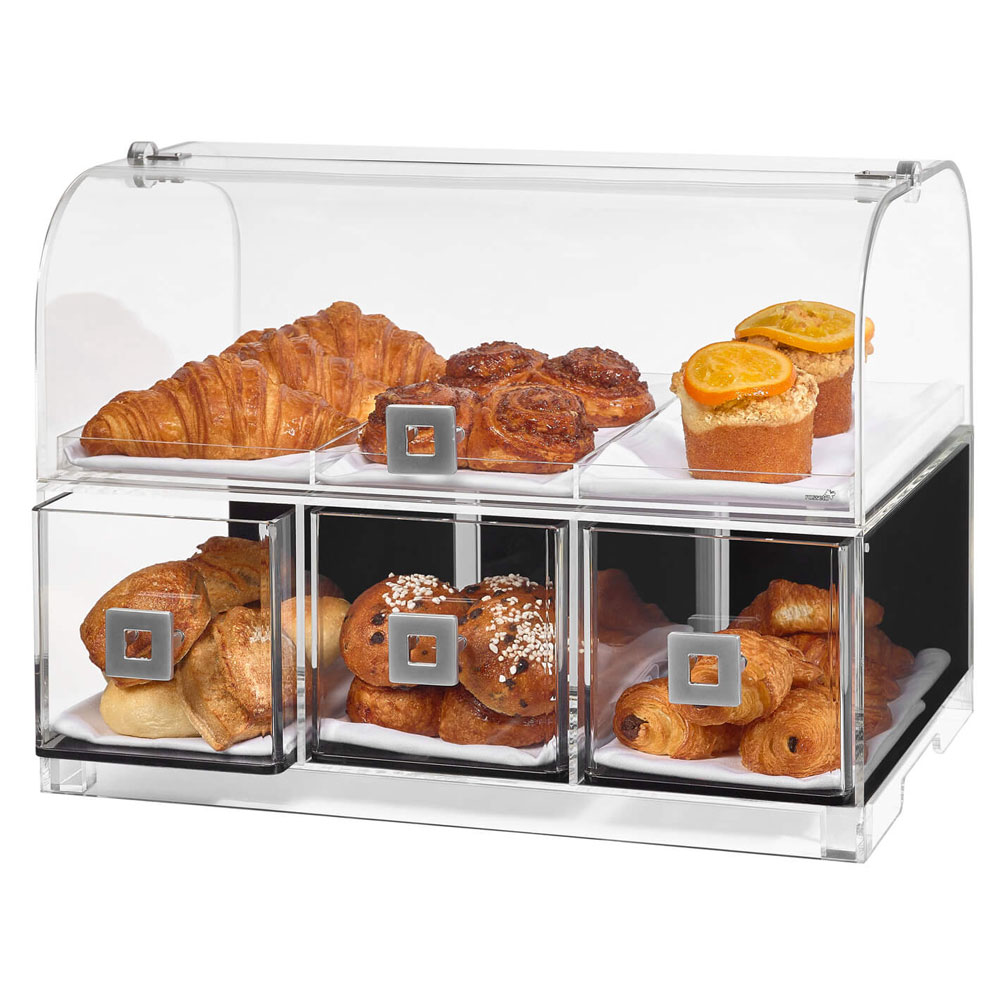 """Rosseto BD128 Countertop Bakery Display Case w/ (2) Tiers, 19.1"""" x 12.75"""" x 15"""", Clear Acrylic"""