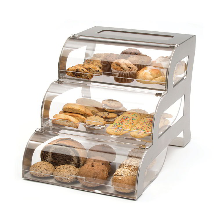 """Rosseto Serving Solutions BK010 3-Drawer Bakery Stand - 15-1/4x23-1/4x15-1/2"""" Acrylic/Stainless"""