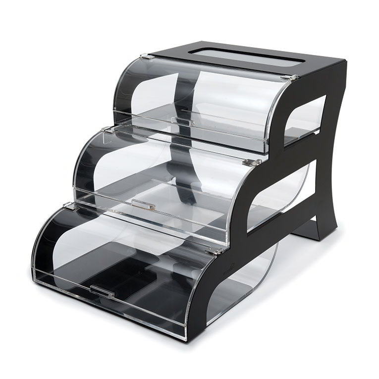 "Rosseto BK011 Pastry Display Case - 15.25"" x 23.25"" x 15.5"", Acrylic/Black Stainless"