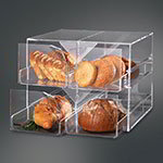 "Rosseto Serving Solutions D13700 4-Drawer Bakery Display Case - 15x14-1/2x12"" Acrylic, Clear"