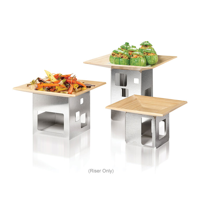 """Rosseto D61877 Square Display Riser - 6x6x10"""" Stainless"""