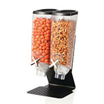 Rosseto EZ50299 Double 1-gal Dry Product Dispenser with Stand - 2-gal Capacity, Clear/Black