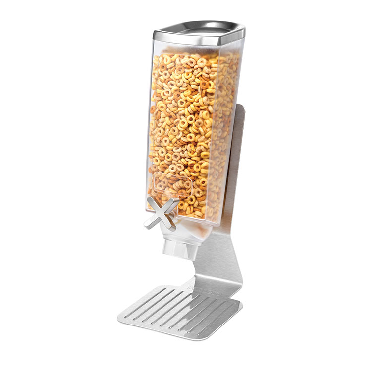 Rosseto EZ513 Single 1-gal Dry Product Dispenser with Stand - Clear/Stainless
