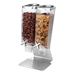 Rosseto EZ514 Double 1-gal Dry Product Dispenser with Stand - 2-gal Capacity, Clear/Stainless