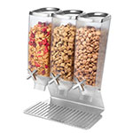 Rosseto EZ515 Triple 1-gal Dry Product Dispenser with Stand - 3-gal Capacity, Clear/Stainless