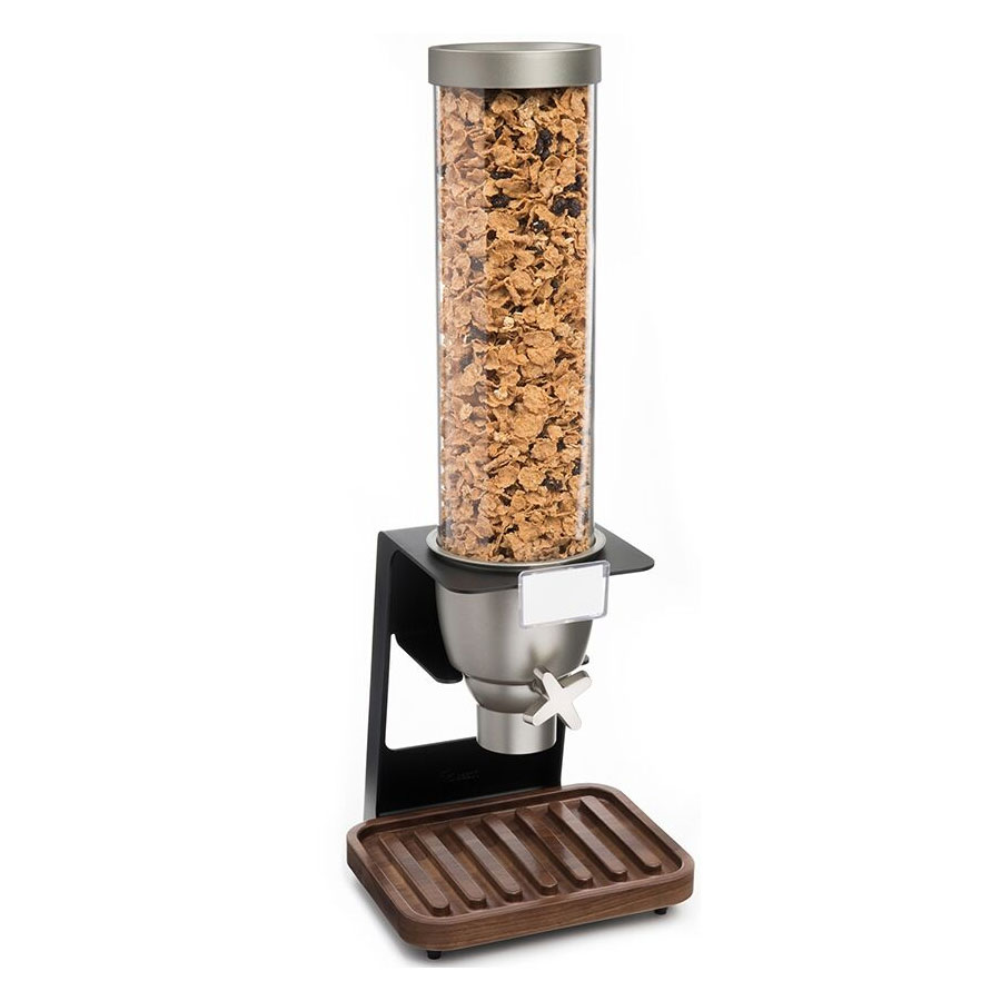 Rosseto EZ518 1-gal Dry Product Dispenser with Black Stand - Walnut Tray, Clear