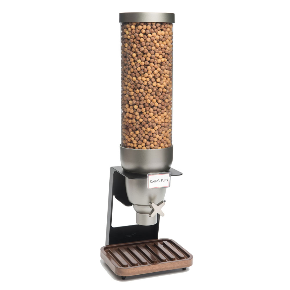 Rosseto EZ529 2-gal Dry Product Dispenser with Black Stand - Walnut Tray, Clear