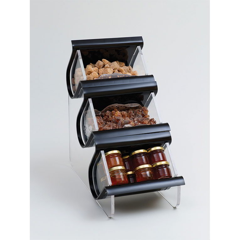 Rosseto Serving Solutions EZO715 Countertop Condiment Caddy - (3) Compartments, Black