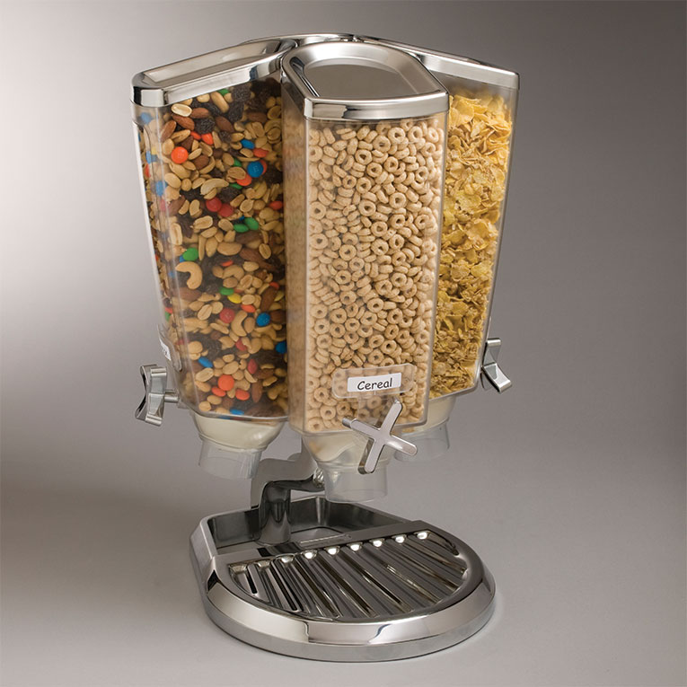 Rosseto EZP2753 Dry Product Dispenser with Stand - (4)1-gal Capacity, Clear/Stainless
