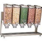 Rosseto EZP2883 Dry Product Dispenser with Stand - (5)1-gal Capacity, Clear/Stainless