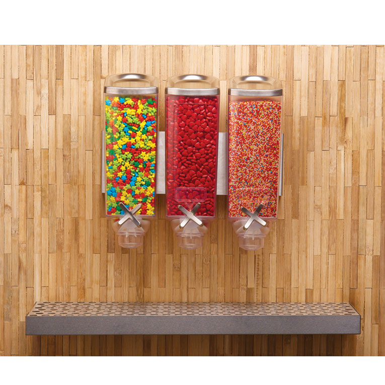 Rosseto EZP2906 Wall-Mount Candy Dispenser - (3)1-gal Capacity, Clear
