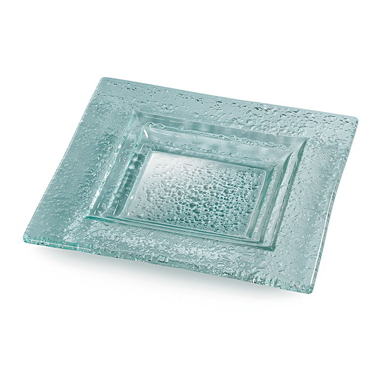 "Rosseto Serving Solutions GSP08 8"" Glass Square Serving Platter - Green"