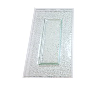 "Rosseto Serving Solutions GSP13 13"" Glass Rectangular Plates - Green"