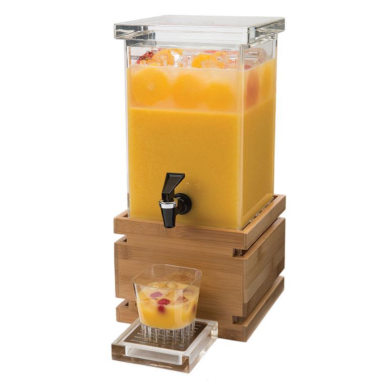 Rosseto LD116 1-gal Rectangular Beverage Dispenser - Bamboo Base