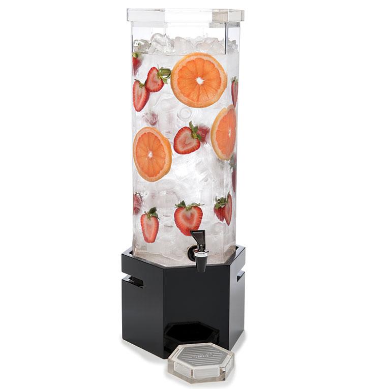 Rosseto LD119 2-gal Beverage Dispenser - Ice Basket, Bamboo Base, Black Gloss Finish