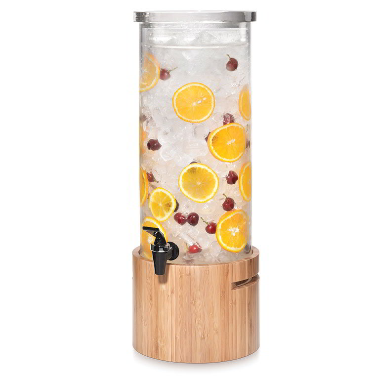 Rosseto LD126 3-gal Round Beverage Dispenser - Ice Basket, Bamboo Base