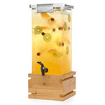 "Rosseto LD147 3-gal Square Beverage Dispenser - 9.8"" x 17.6"", Stainless/Bamboo"
