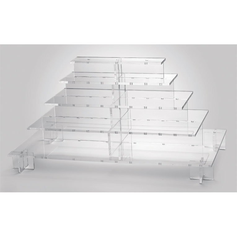 "Rosseto PLC562 5-Tier Display Server Stand - 35-1/2x20x19"" Acrylic, Clear"