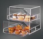 "Rosseto Serving Solutions BAK2231 2-Drawer Countertop Bakery Display Case - 10x11x12"" Acrylic, Clear"