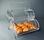 "Rosseto Serving Solutions BAK2937 2-Tier Countertop Bakery Display Case - Wire Stand, 13-1/2x16x18"" Acrylic, Clear"