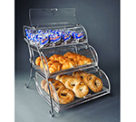 "Rosseto Serving Solutions BAK2944 3-Tier Countertop Bakery Display Case - Wire Stand, 19x15x22"" Acrylic, Clear"