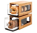 Rosseto Serving Solutions BD102 2-Drawer Pastry Display Base - Acrylic/Bamboo