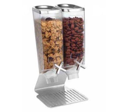 Rosseto Serving Solutions EZ514 Double 1-gal Dry Product Dispenser with Stand - 2-gal Capacity, Clear/Stainless