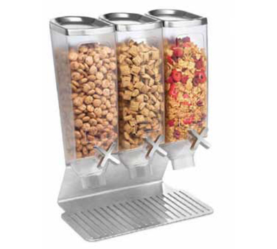 Rosseto Serving Solutions EZ515 Triple 1-gal Dry Product Dispenser with Stan