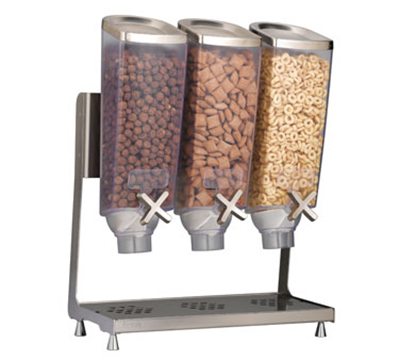 Rosseto Serving Solutions EZP2135 Dry Product Dispenser with Stand - (3)1-gal Capacity, Clear/Stainless