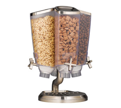 Rosseto Serving Solutions EZP2753 Dry Product Dispenser with Stand - (4)1-gal Capacity, Clear/Stainless