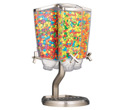 Rosseto Serving Solutions EZP2760 Carousel Candy Dispenser with Stand - (4)1-gal Capacity, Clear/Stainless