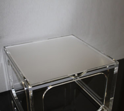 "Rosseto Serving Solutions MFL0190 9"" Square Display Tray - Frosted Acrylic"