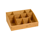 """Rosseto Serving Solutions SB103 9-Compartment Display Organizer - 16x12x6"""" Bamboo"""