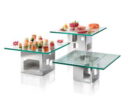 Rosseto Serving Solutions SK002 6-Piece Square Riser Set - Glass/Stainless