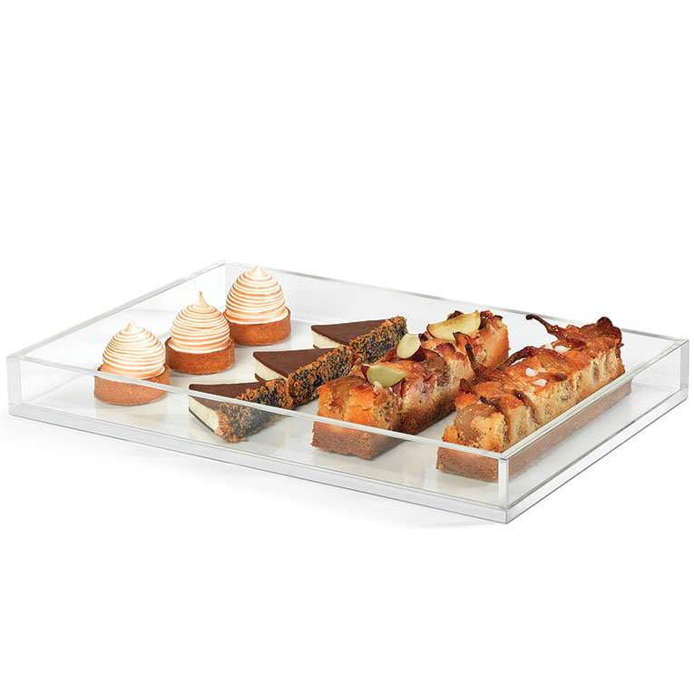"Rosseto SA115 Rectangular Serving Tray - 18x12"" Clear Acrylic"