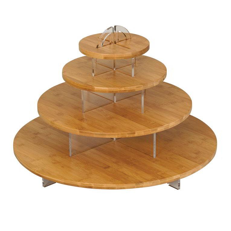 "Rosseto SB100 Bamboo Cirque Display w/ (3) Tiers, 23.6"" x 23.6"" x 20"", Bamboo/Acrylic"