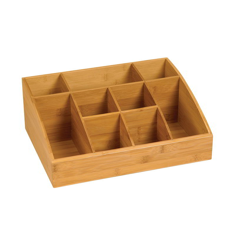 "Rosseto SB103 9-Compartment Display Organizer - 16x12x6"" Bamboo"