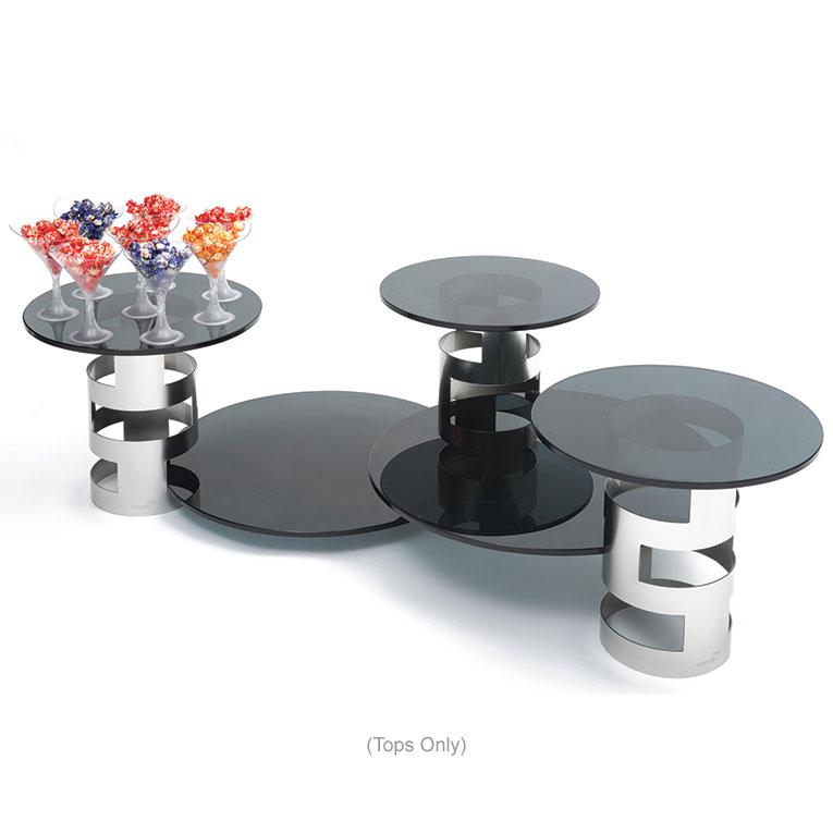 "Rosseto SG004 14"" Round Glass Display Platter - Black"